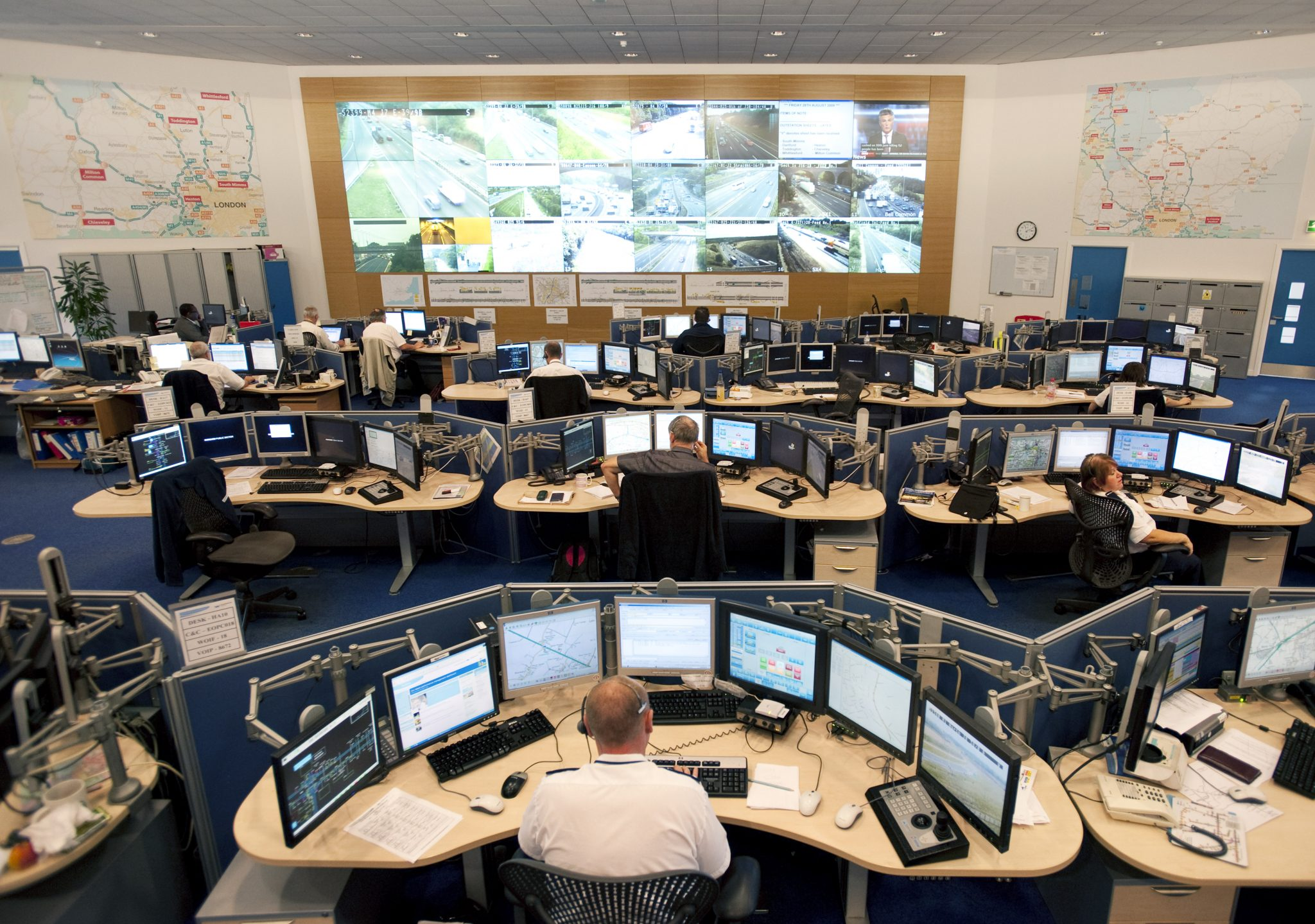 NOC with people and desks